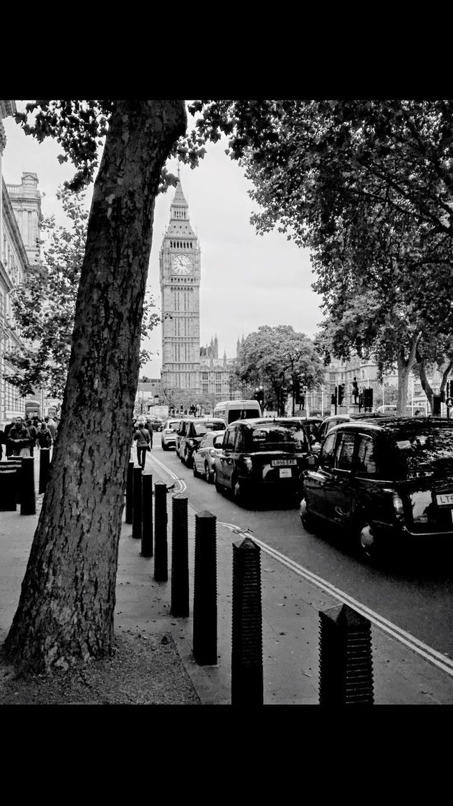 B&w Street Photography London Big Ben Black Cabs