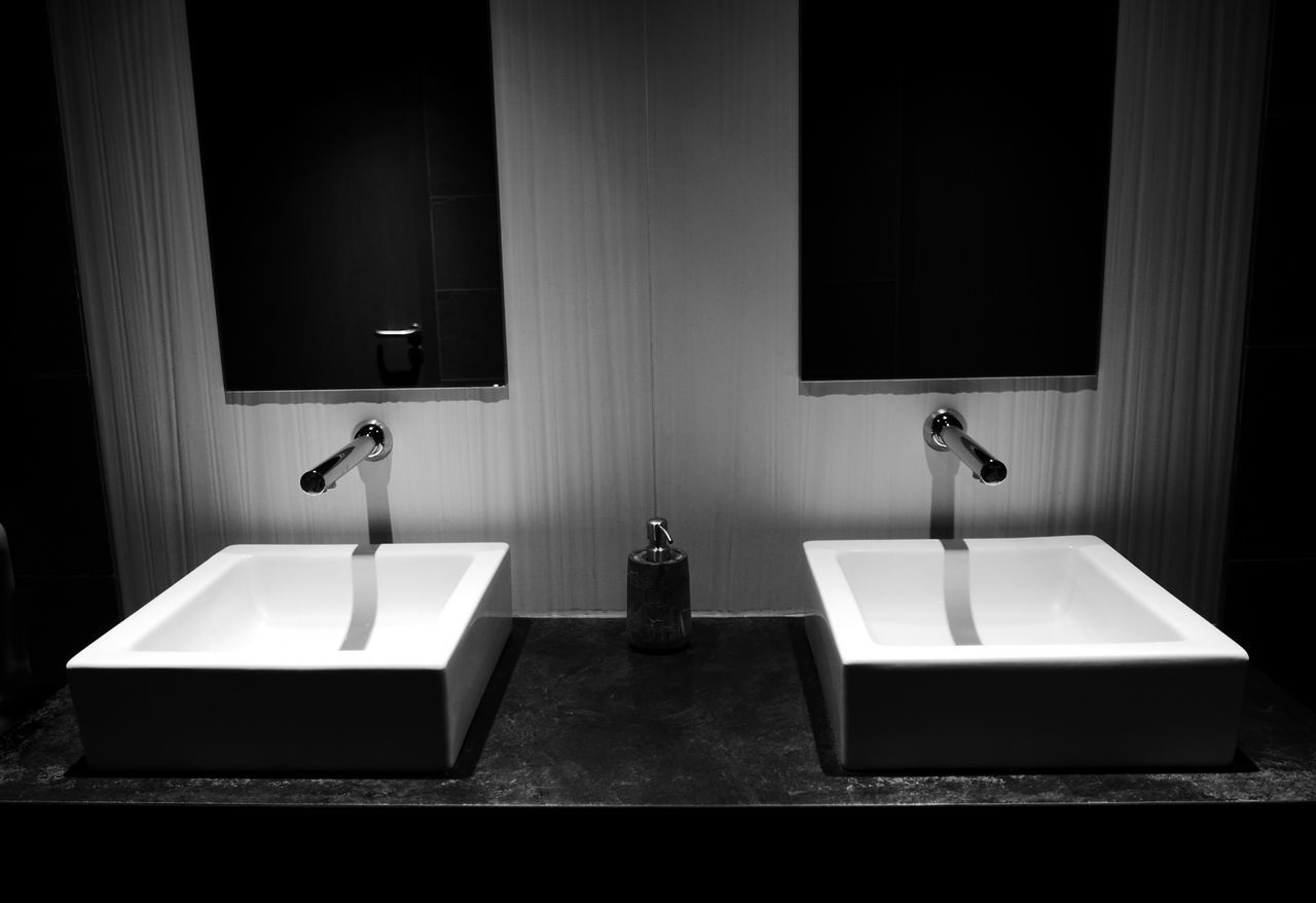 Rest Room Sink Mirror Black And White Creative Light And Shadow