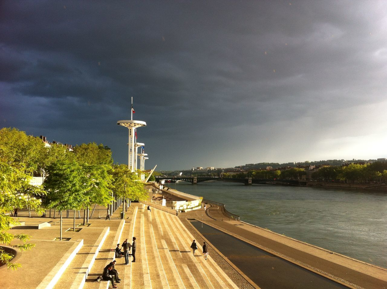 #beautiful #France #lyon #rain  #river #stairs City Cloud Cloud - Sky Cloudy Day Sky Sky And Clouds Tourism Tower Tree