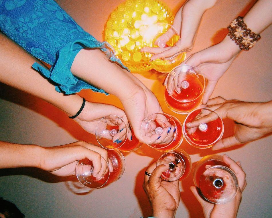 Beautiful stock photos of friends, Celebration, Celebratory Toast, Cheering, Directly Below