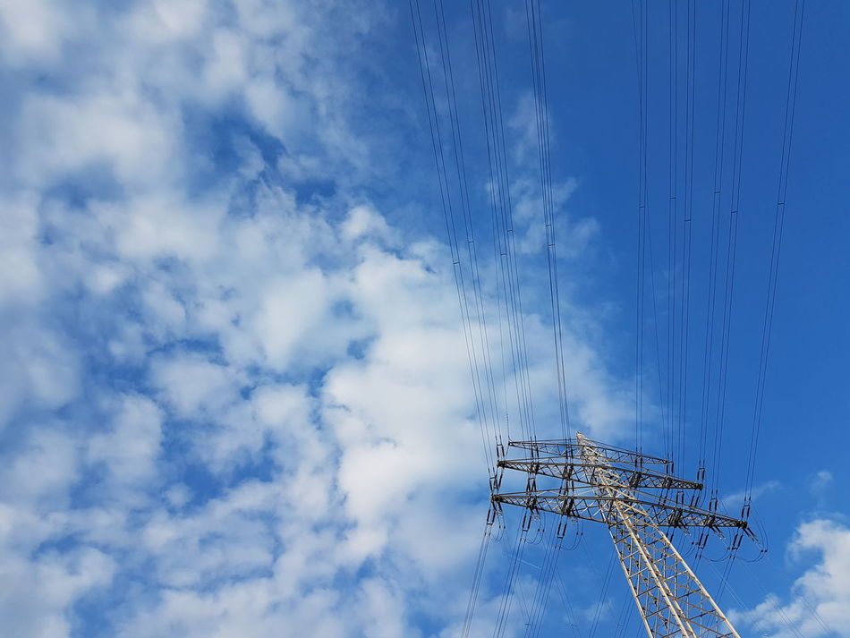 Technology Cloud - Sky No People Sky Day Blue Electriccables Electricity Tower Electric Tower  Electric Tower  GERMANY🇩🇪DEUTSCHERLAND@ Low Angle View Cable Connection Outdoors Electric Tower