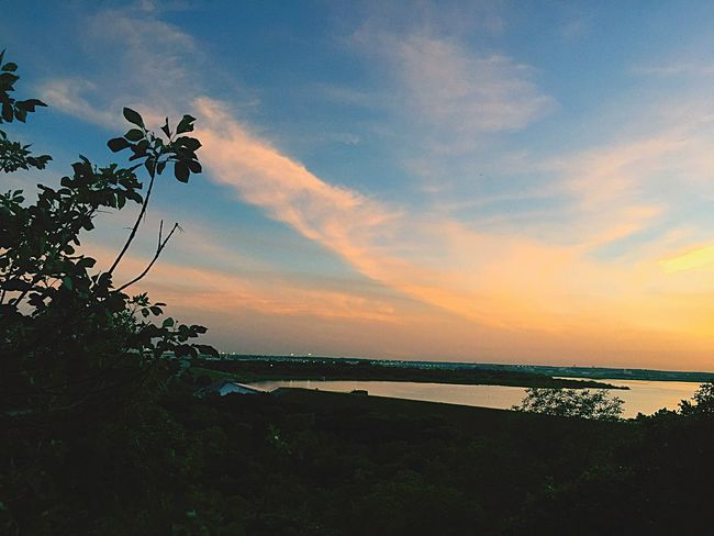 A Bird's Eye View Ever think what a birds looking at? Water Lake Sunset Tranquil Scene Scenics Tranquility Beauty In Nature Sky Nature Plant Growth Idyllic Non-urban Scene Cloud - Sky Sea Blue Cloud Calm Majestic Orange Color