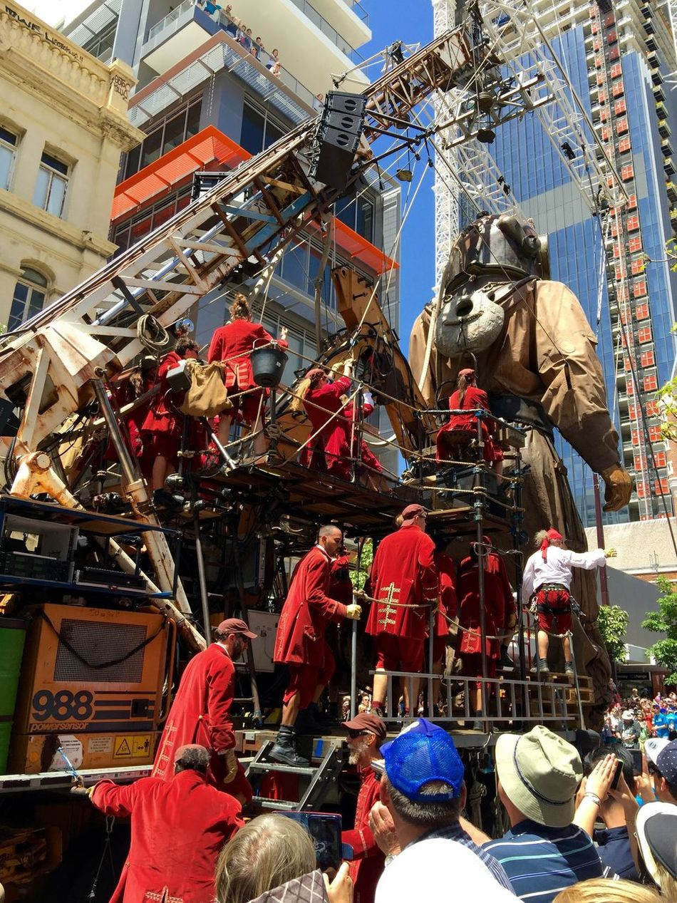 PERTH, AUSTRALIA-FEBRUARY 14, 2015: Journey of the Giants, Giant Marionette Diver with working puppeteers, public International Arts Festival Art Art Event Australia Australianshepherd Belts And Pulleys City Cityscape Crane Crowds Culture Diver Festival Giant Human International Journey Marionette Paraeles People Puppeteers Walking Winchester Wooden
