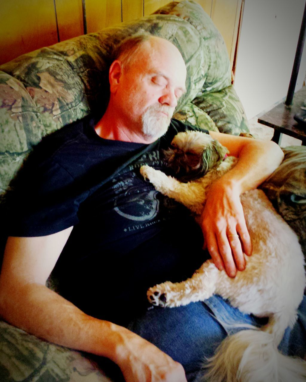 pets, indoors, domestic animals, one animal, real people, mammal, love, home interior, baby, sleeping, men, bed, dog, sitting, two people, relaxation, bonding, childhood, bedroom, day, people