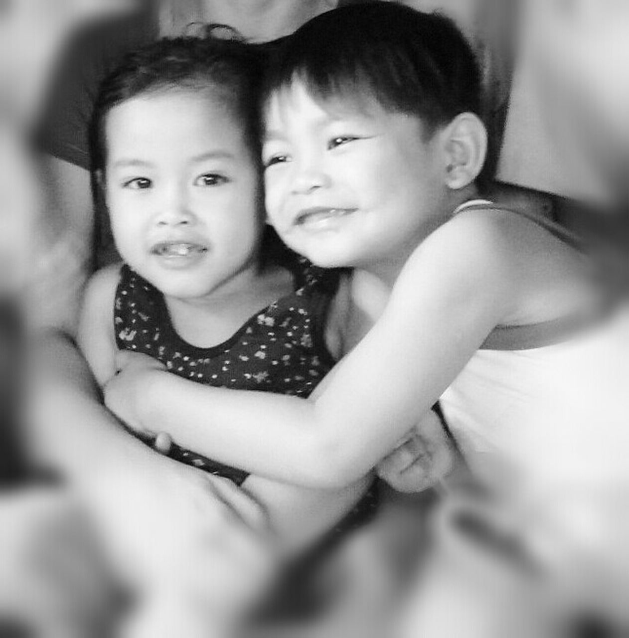 two people, childhood, girls, togetherness, child, looking at camera, love, smiling, portrait, bonding, happiness, real people, indoors, cheerful, day, females, close-up, friendship, people, adult