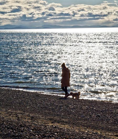 Animal Themes Beach Beauty In Nature Childhood Day Full Length Horizon Over Water Mammal Nature One Animal One Person Outdoors People Real People Rear View Scenics Sea Sky Standing Sunlight Vacations Water Wave
