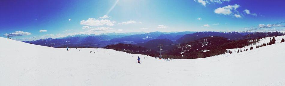 Skiing Sun Panorama Mountains Snow Cold Days