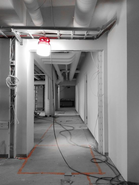 Indoors  Architecture Built Structure No People Blackandwhite Worksite WorkingSite Lamplight Lamp Renovation Red Corridor Spaces White Interior School Building Wires Cables Cables And Wires Taped Covered Floor Walls Ceiling