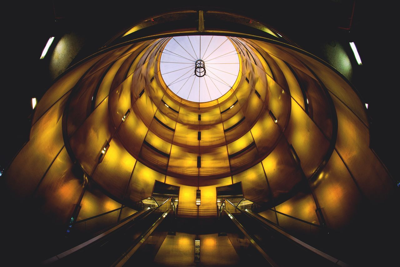 Illuminated Indoors  City Architecture No People Structure Yellow