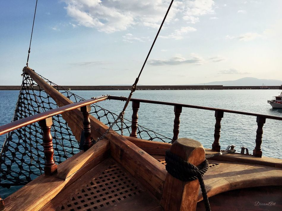 Water Sea Nautical Vessel Transportation Mode Of Transport Railing Tranquil Scene Nature Ocean Cloud Sky Blue Tranquility Blue No People Journey Boat Pirate Ship Kalamata Messinia Greece