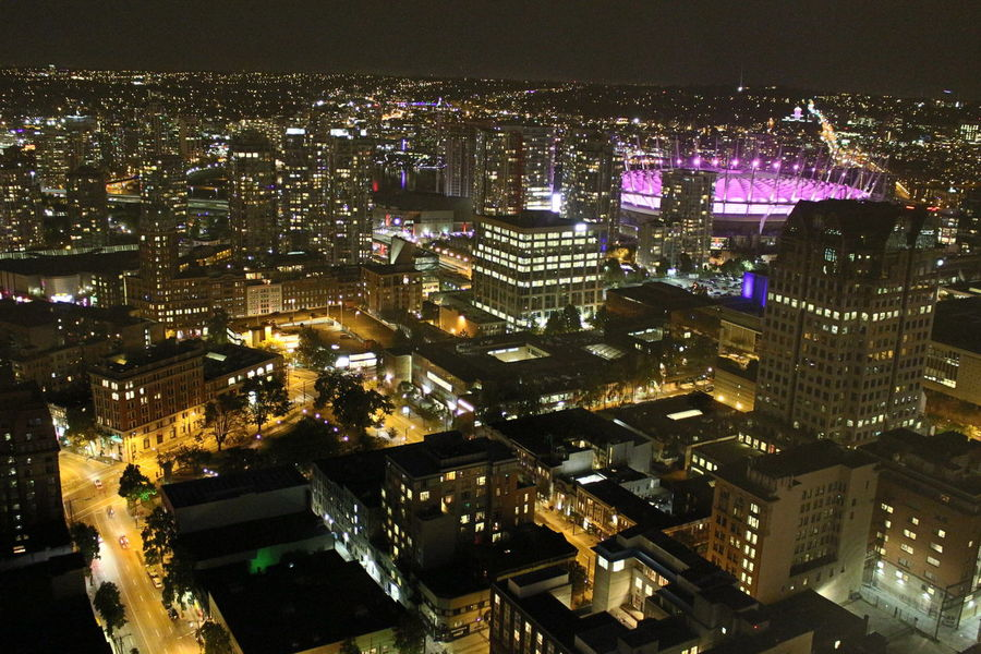 Aerial View Architecture BC Place City Cityscape Illuminated Night Night Lights Urban Skyline Vancouverisawesome Wide Shot