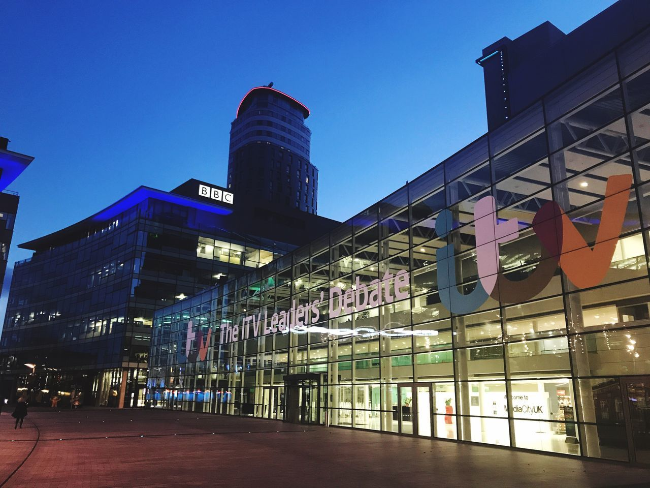 Architecture Built Structure Building Exterior Clear Sky City Outdoors Modern Blue Illuminated No People Modern Mediacityuk Night Day Travel Destinations Skyscraper Sky Manchester