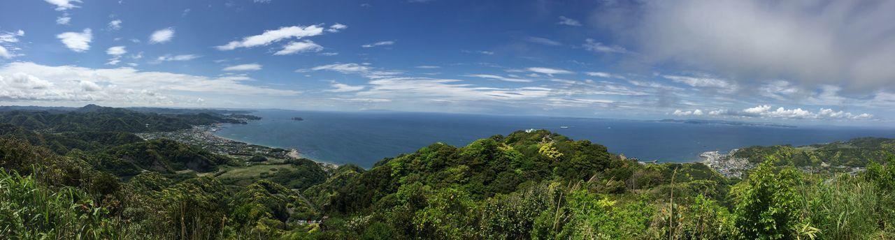 東京湾のパノラマ Seascape Sea Sky Nature Clouds Forest Tokyo Bay Nokogiriyama Mt. Nokogiri Japan