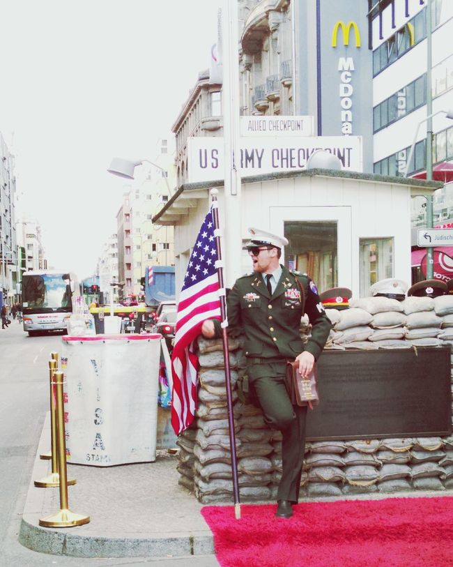 Berlinwall Checkpointcharlie Mcdonalds Capitalism 1989 Usarmy Soldier People And Places