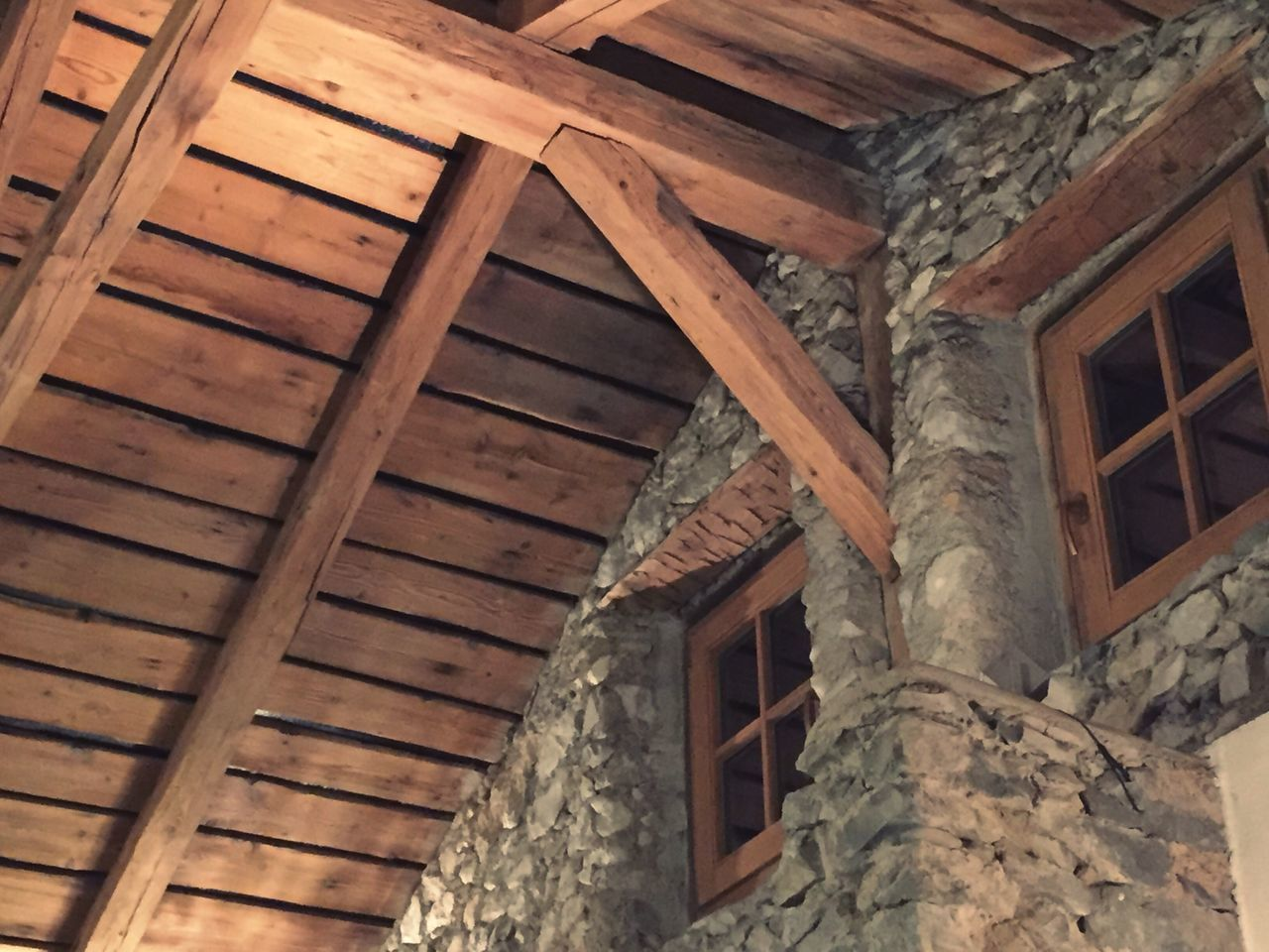 Austria Kaffebohne Wood - Material Architecture Built Structure Roof Beam Ceiling House Low Angle View Home Interior Roof Window No People Indoors  Residential Building Day Building Exterior