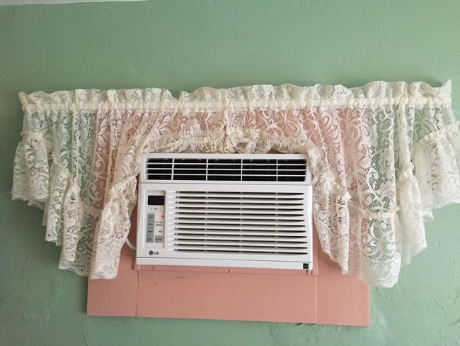 Air Conditioner Climate Curtain Green Wall No People Old Fashioned Over Cover Pretty On Pink fancy Wall