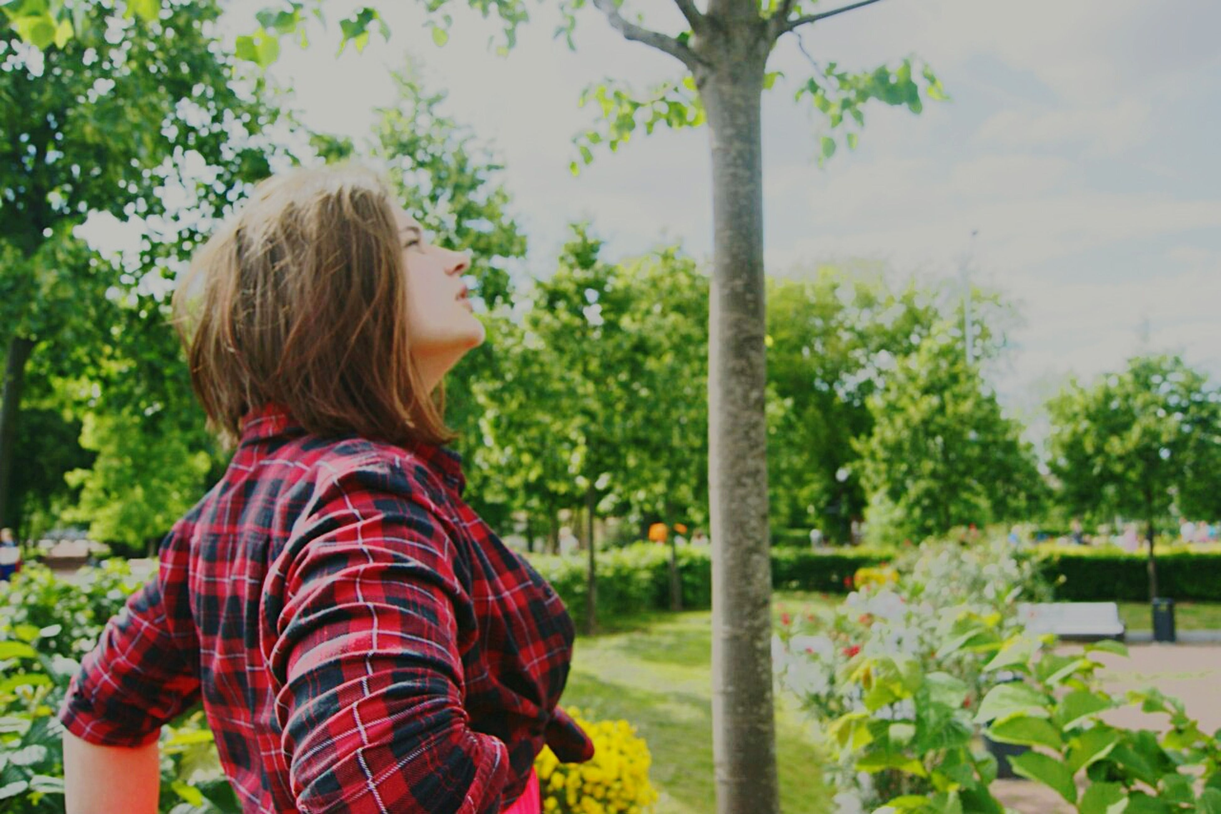 lifestyles, leisure activity, tree, long hair, rear view, casual clothing, person, standing, waist up, focus on foreground, blond hair, park - man made space, girls, young women, three quarter length, nature, brown hair, plant