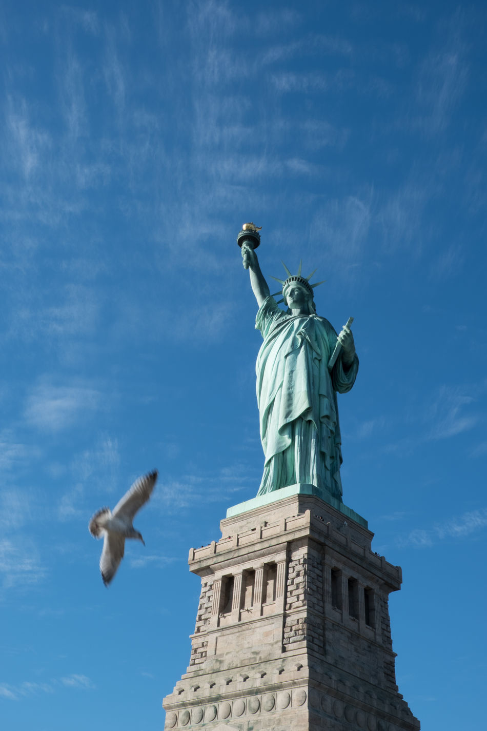 Bird flies near the Statue of Liberty, isolated, on her pedestal on Liberty Island on a bright sunny day New York City. One bird flying near pedestal of the Statue of Liberty. Ellis Island  Ellis Island / Statue Of Liberty Liberty Island Liberty Island Ferry New York New York City New York ❤ New York, New York Outdoors Sky Statue Statue Of Liberty Statue Of Liberty New York Travel Destinations