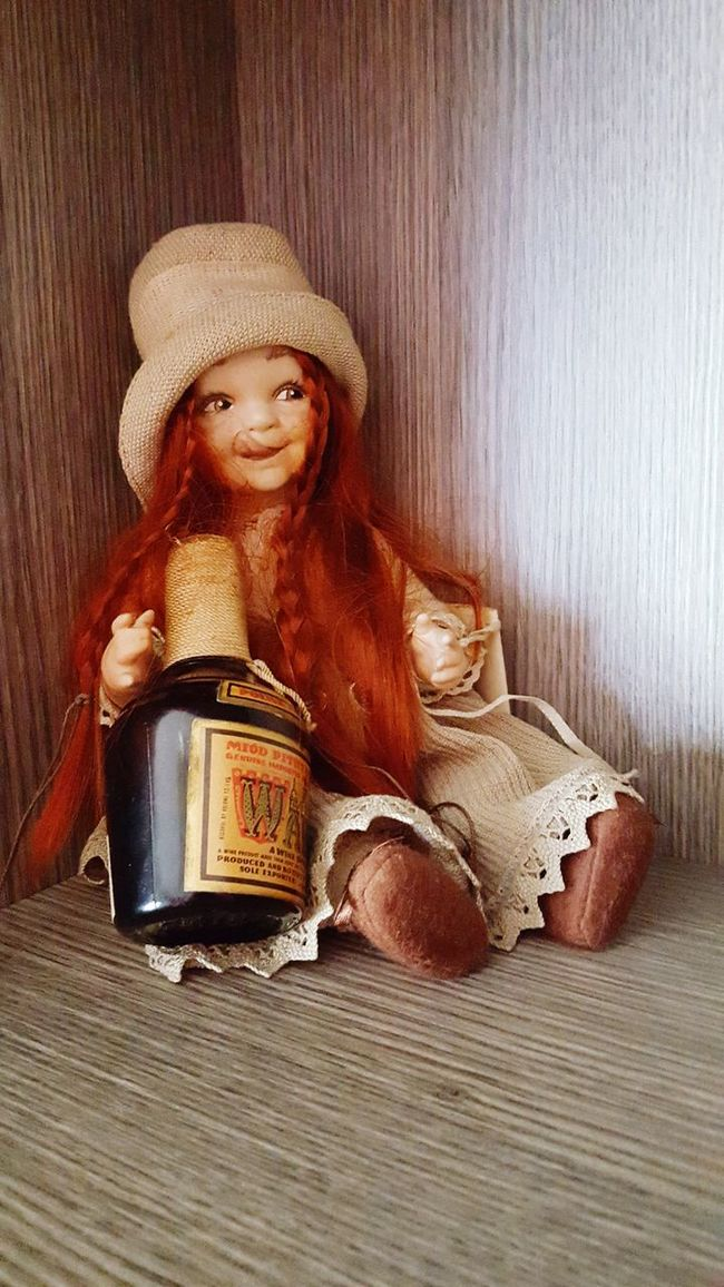 Drunken Doll Drunk Doll Photography Dolly Redhead Red Hair Vintage Alcohol Miniature Cute Cute Dolls