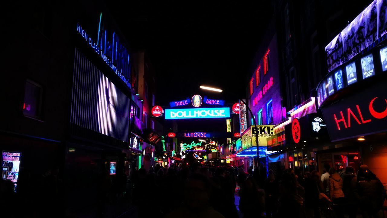 Hamburg Nightlife Impressive Locations Großefreiheit Light Neon Sign Reeperbahn