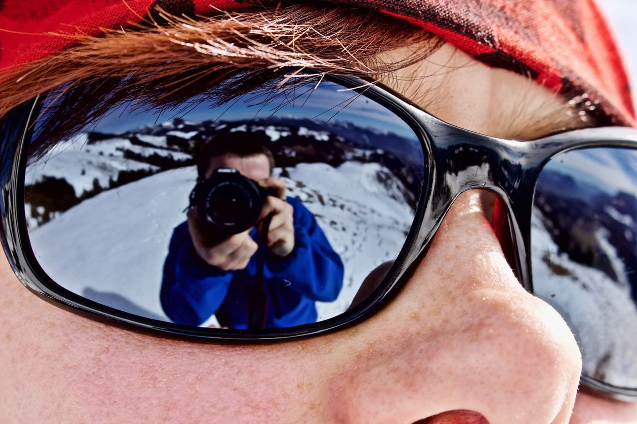 Sunglasses One Person Real People Adults Only Outdoors Lifestyles Adult Day Close-up People Young Adult One Man Only Only Men Woman Reflection Young Women Winter Walchsee Light And Shadow Brennkopf