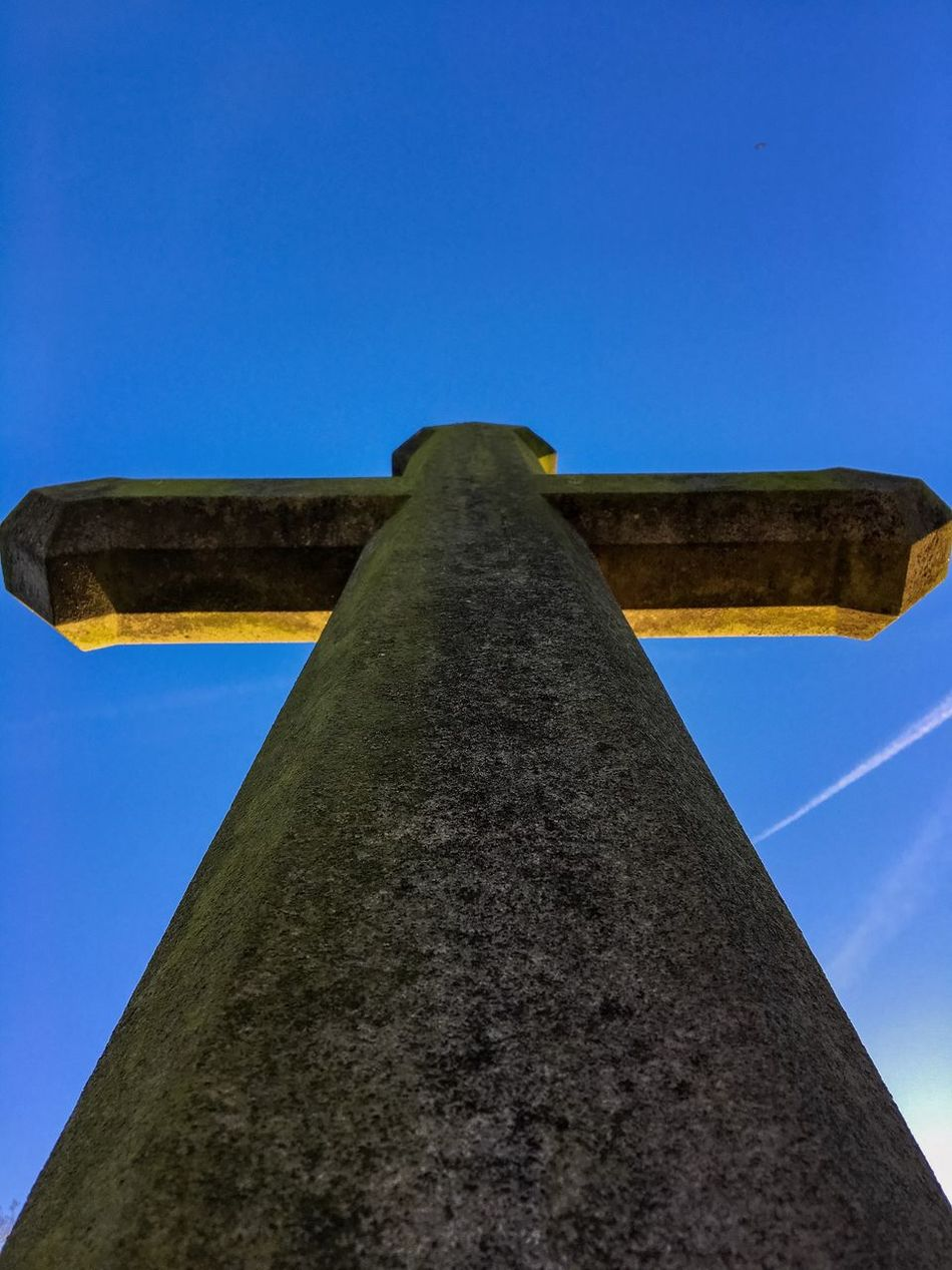 Cross Blue Clear Sky Low Angle View Built Structure No People Sky Outdoors Architecture Day Brockley & Ladywell Cemetery London Cemetery Cemetery_shots Cemetery Photography Stone Cross Cross Gravestone Photography Gravestone