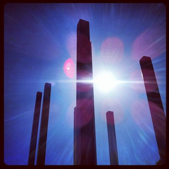 'Poles apart' Dysart Fife  Scotland Poles statues Wooden Monument skyporn Sky Cloudporn Clouds blue lensflare Petals Sunrays Sunlight Instagrampolis instagram photography