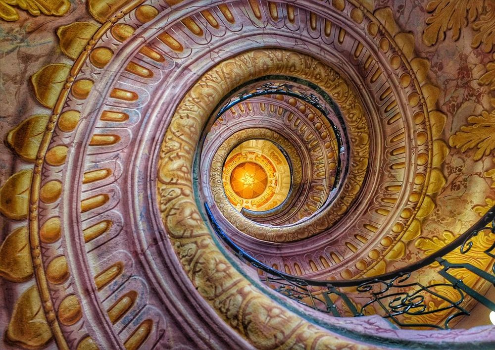 Golden stairs X100 Architecture Photowalk Snapseed Editing  Showcase May Fujifilm Beautiful Architecture Austria ❤ Dürnstein Staircase Stairs Spiral Staircase Chuch Abbey Amazing Fresco Beautiful Fine Art Photography Colour Of Life Eyeemphoto
