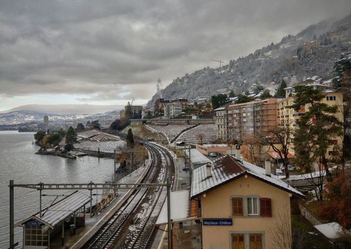 Veytaux, Switzerland Winter Wintertime Lake Veytaux Switzerland Built Structure Architecture Building Exterior Mountain Outdoors Cloud - Sky No People Railroad Track Cityscape City Sky