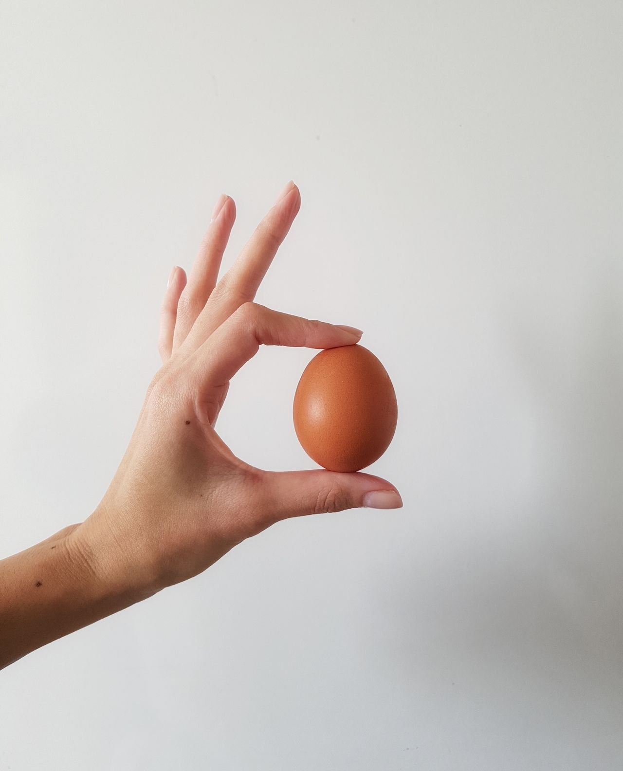 Egg 5/5 Human Body Part Human Hand Food Close-up Healthy Eating Healthy Lifestyle Freshness White Background Holding Nailpolish Cropped Female Hand Studio Shot Egg Round Objects Shell Cooking With Eggs Protein Sunnyside Up Breakfast Hungry Egg White Fresh Products Human Finger
