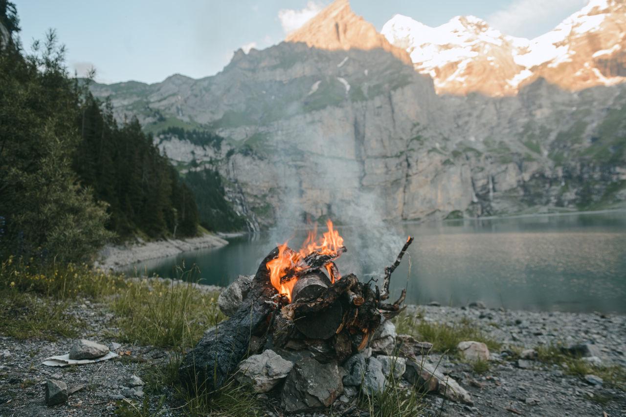 Beautiful stock photos of feuer, nature, heat - temperature, flame, mountain