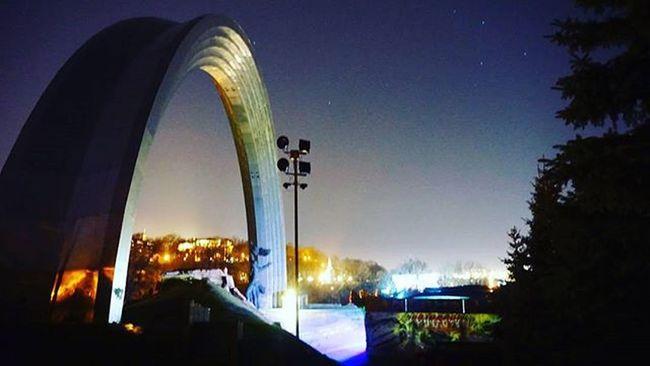 арка світло небо вечір Arch Lights Sky Night фонари свет вечер Київ Киев Kyiv Kiev