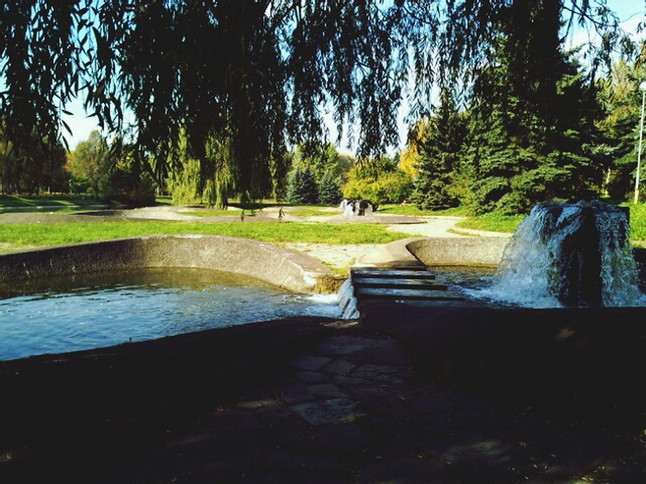 Hallo World Taking Photos One Day Morning San Park Trees Green Color Traveling Water Fountain Beautiful Belarus Minsk