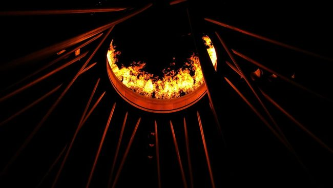 Underneath the Sydney Olympic Cauldron Olympics Fire Flame Statue Sydney Olympic Park  Dark Night Cauldron