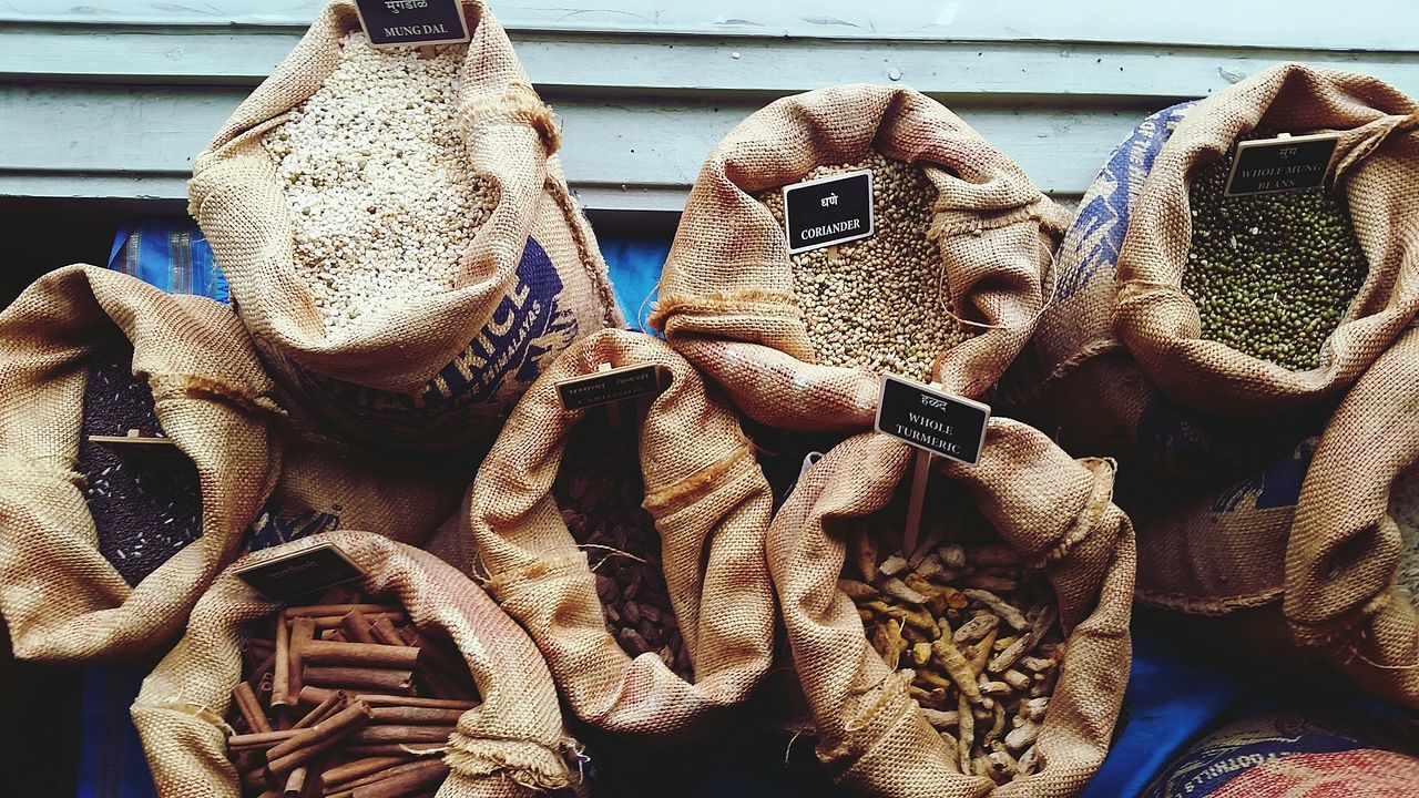 Spices Of The World Indian Spices Turmeric  Pulses Spices Sack Rice Flavours Of The World Flavours Of India Spices Of India Showcase April Street Food Worldwide Beautifully Organised Lieblingsteil The Street Photographer - 2017 EyeEm Awards