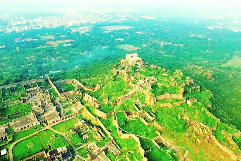 Famous Golkonda fort Hyderabad Aerial View Travel Destinations Nature Journey Green