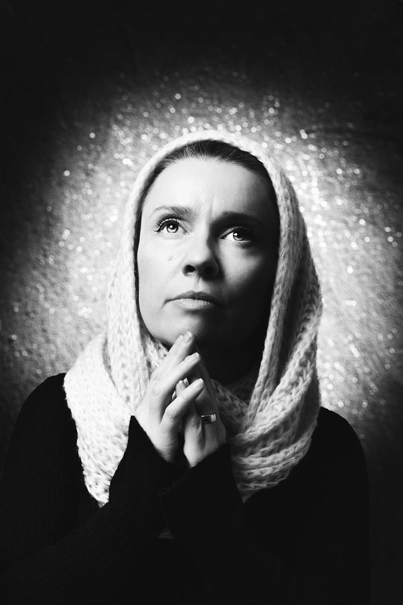 Rembrandt lightning. Portrait of a woman Backgrounds Beautiful Woman Black & White Blackandwhite Close-up Contemplation Eyes Face Fine Art Photography Hands Indoors  Lifestyles One Person Pensive People Photography Portrait Real People Rembrandt Rembrandt Light Studio Studio Shot Thinking