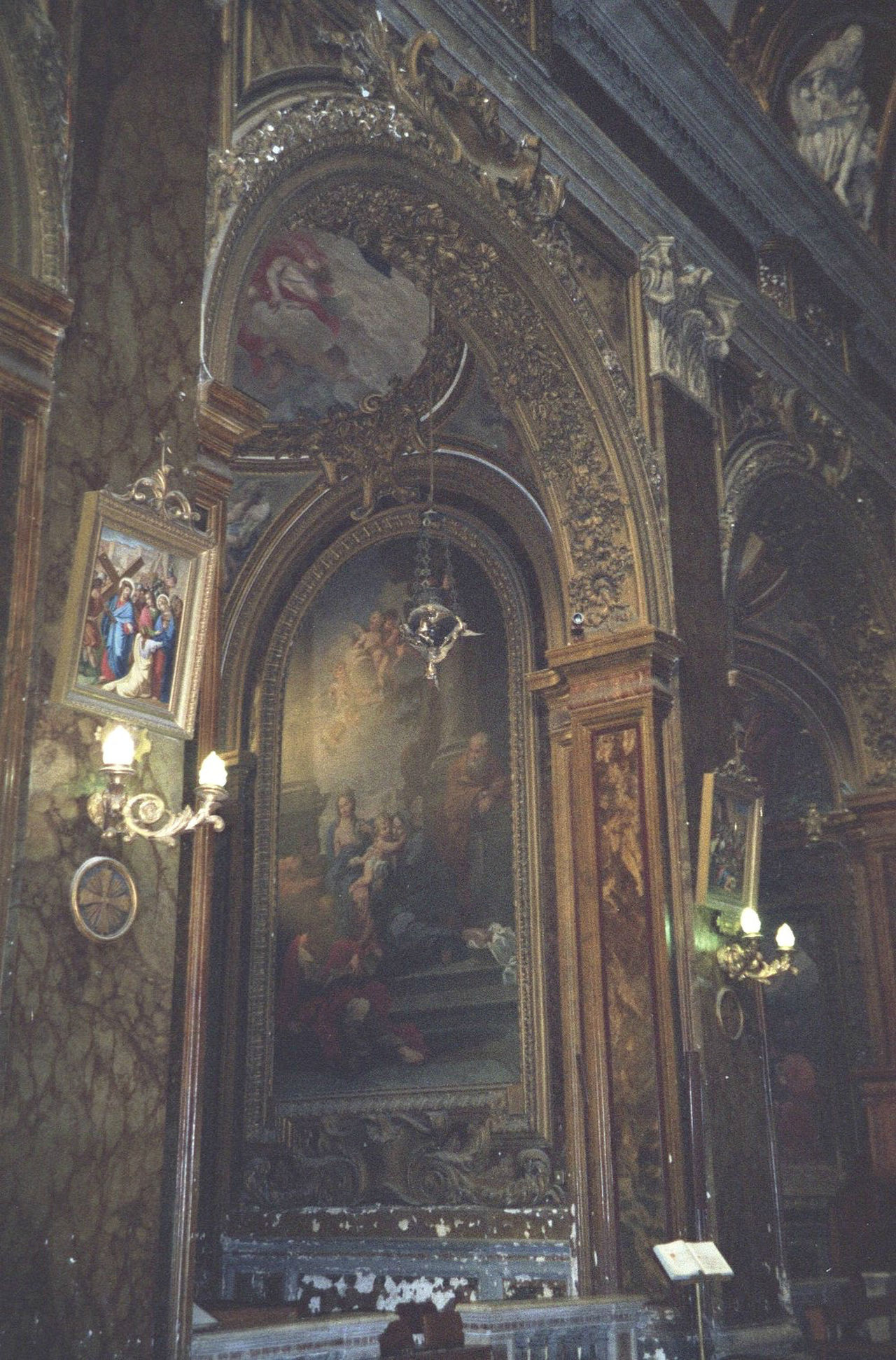 35mm Film Analogue Photography Architecture Basilica Built Structure Candles Church Dark Decoration Fresco Gold Human Representation Indoors  Italian Italy Low Angle View No People Place Of Worship Religion Rococo Roman Rome Spirituality