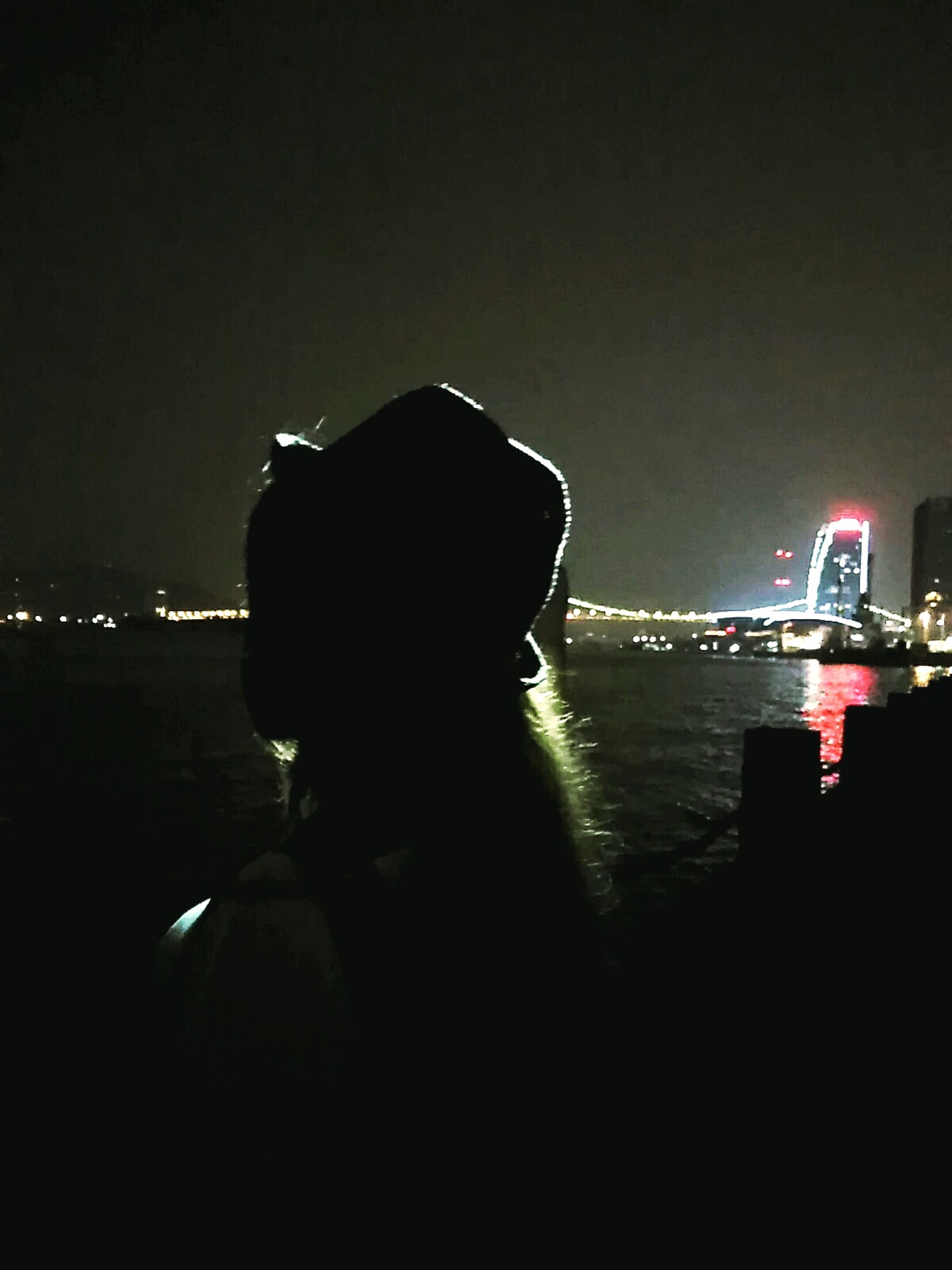 illuminated, night, water, leisure activity, sky, getting away from it all, sea, nature, tranquil scene, tranquility, city life, scenics