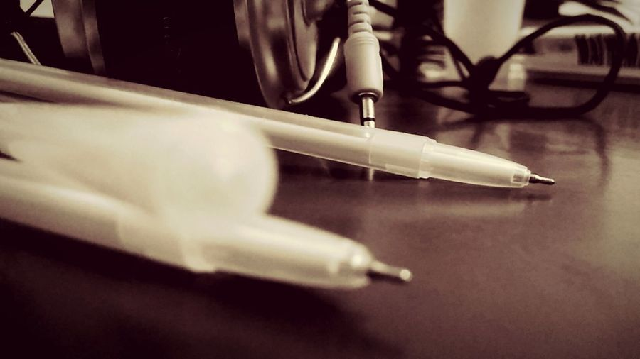 Healthcare And Medicine Close-up Indoors  No People Day Pen My Art Good Or Bad ? Wow!!😋 Home Headphone Sketch Headphone Jacks Best EyeEm Shot Creativity Taking Photos Home Is Where The Art Is Studying Having Fun :) Focus On Foreground Black And White Indoor Photography Tabletop Speaker Colourless