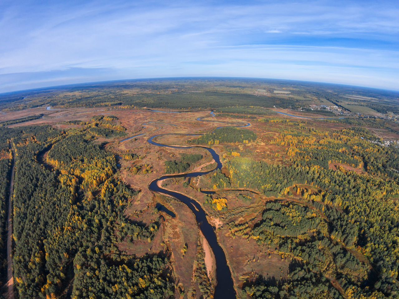Volchina river before flowing into the river Mologa. A Bird's Eye View Aerial View Beauty In Nature Cloud - Sky Day Dji Dji Phantom Drone  High Angle View Landscape Nature No People Outdoors River Rural Scene Russia Scenics Sky Top Perspective Volchina