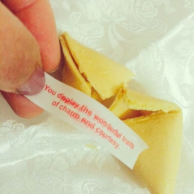 You display the wonderful traits of charm and courtesy . Fortunecookie