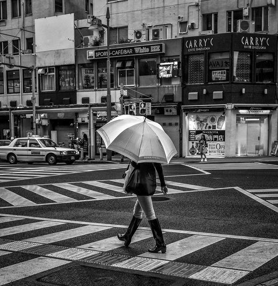 Wellies Japan Japanese  Streetphotography Streetphoto_bw Street Fashion Blackandwhite Monochrome Umbrella People FujiX100T