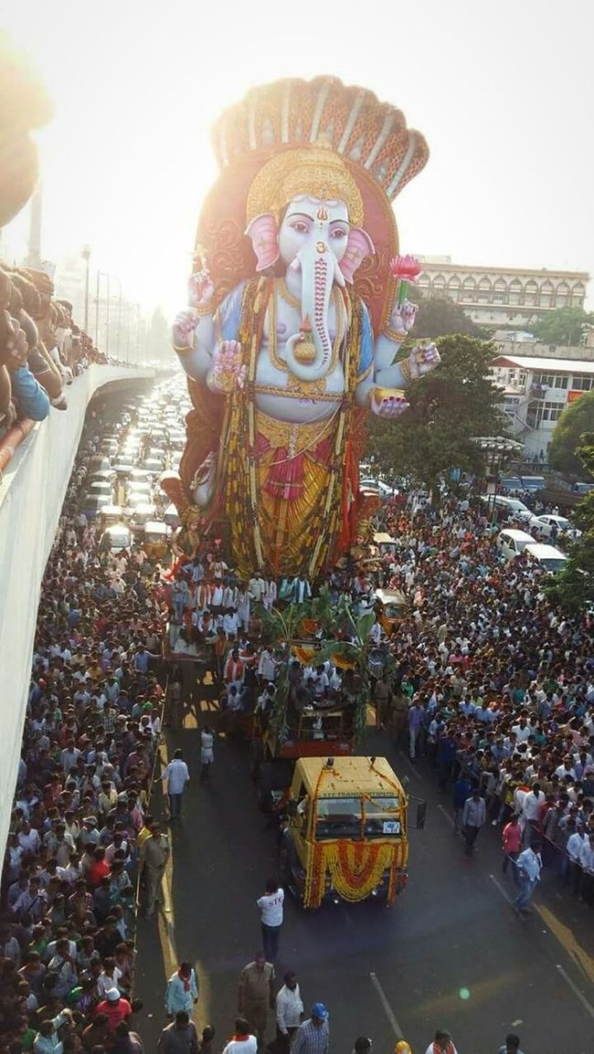 """India Great Indian Festival God Lord Ganesha Son Of Lord Siva Deceptively Simple people have lot of love on god. Every Indian participate in """" Ganesh chaturthi"""" festival. 100+ft lord Ganesh statue. Capture The Moment SagarReddy"""