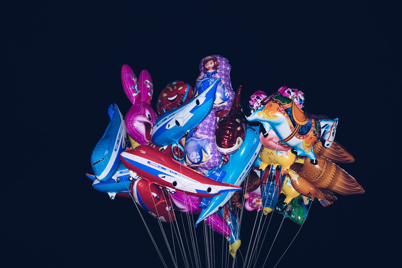Air Airplane Balloons Black Background Blue Bunch Bundle Celebration Copy Space Event Festival Floating In Water High Up Kid Multi Colored Outdoors Party Tied Together Toy Minimalism Minimal