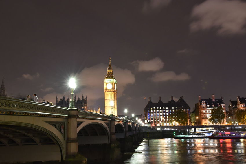 An Eye For Travel London Westminster Bridge Architecture Bridge - Man Made Structure Building Exterior Built Structure Bulb Bulbphotography City Cityscape Clock Tower Cloud - Sky Connection darkness and light Illuminated Night No People Outdoors Parliament River Sky Tower Travel Destinations Water