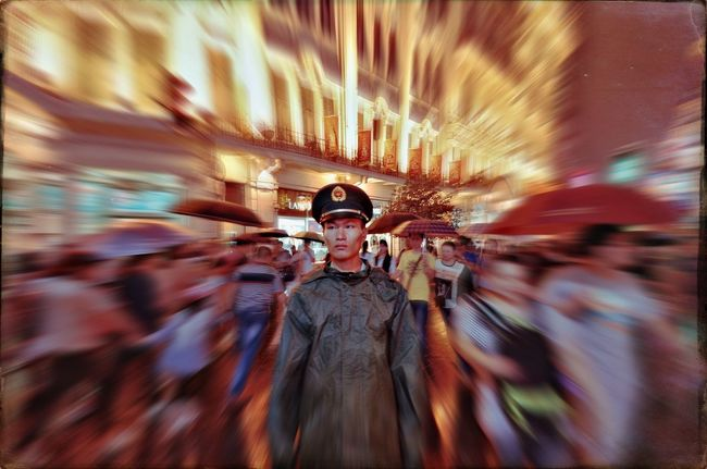 Policeman in Nanjing road From My Point Of View My Street Photography Shanghai Shanghai Streets Shanghai Photography Taking Photos Street Photography Motion Blurred Motion On The Move Policeman Light Trail Night Photography National Day Shanghailife City Life Shanghai Night Blur