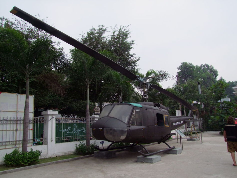 Helicopter, War Remnants Museum City Composition Day Full Frame Green Color Grey Sky Helicopter Ho Chi Minh City Incidental People Mode Of Transport Museum Outdoors Parked Stationary Tourism Tourist Attraction  Transportation Trees Vietnam War War Remnants Museum