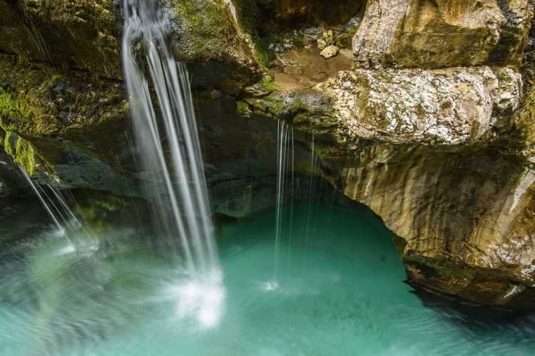 Beauty In Nature Bovec Color Flowing Flowing Water Green Hiking Long Exposure Motion National Park Nature No People Outdoors Remote River Scenics Slovenia Soca Soca River Splashing Travel Valey Water Waterfall