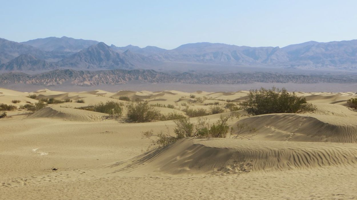 It's gettin' hot in herre Tranquil Scene Scenics Tranquility Desert Mountain Landscape Sand Clear Sky Beauty In Nature Sand Dune Travel Destinations Arid Climate Non-urban Scene Remote (null)Extreme Terrain Death Valley Death Hot Day Nochill